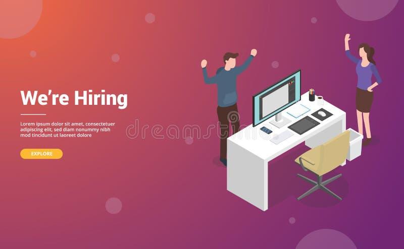Zatrudnia lub zatrudniający projektanta lub graficznego projekta pojęcia z pustym biurkiem i krzesłem dla strony internetowej lub royalty ilustracja