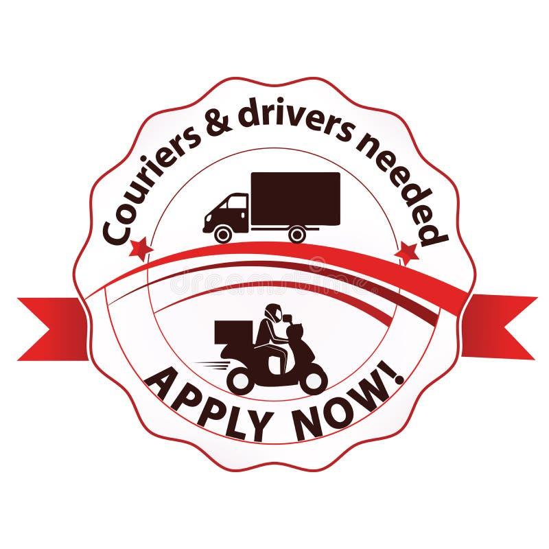Zatrudniamy, kuriery i kierowcy chcieć, - printable znaczek ilustracji