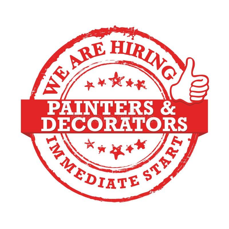 Zatrudniamy malarzów i decorators, bezpośredni początek - stempluje, etykietka dla druku/ royalty ilustracja