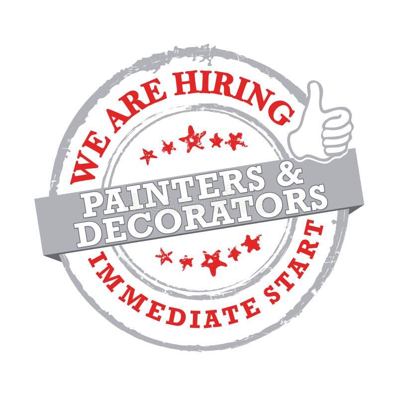 Zatrudniamy malarzów i Decorators znaczek, etykietka -/ ilustracja wektor