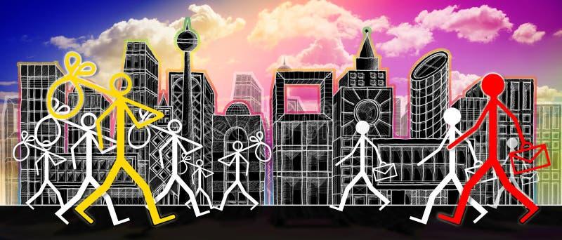 Zatrudnienie i bezrobocie: z pracy akcydensowej rewizji - pojęcie wizerunek na miasta tle royalty ilustracja