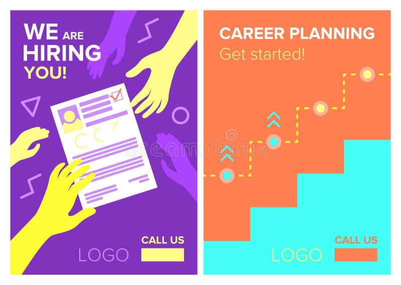 Zatrudnieniowa hierarchia, kariery planowanie i pracy gmeranie, Wektorowi plakaty ilustracji