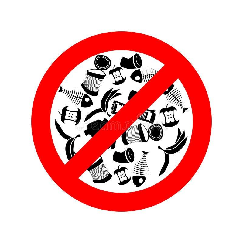Zatrzymuje śmiecić Zakazu śmieci Ja zakazuje ściółka royalty ilustracja