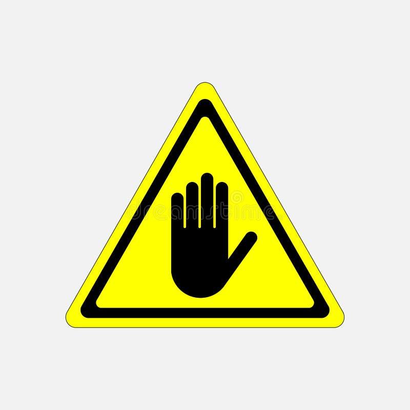 ZATRZYMUJE, żadny hasłowy ręka znak, uwaga ilustracja wektor