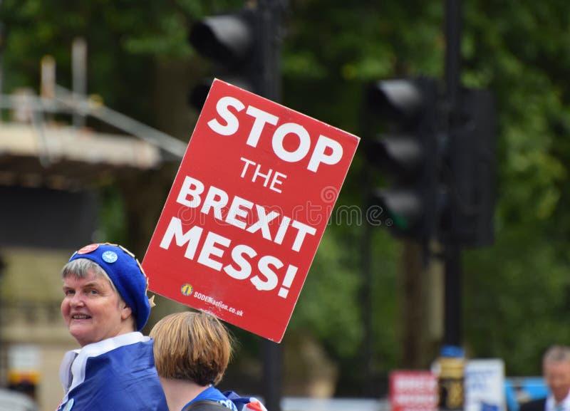 Zatrzymuje Brexit bałaganu sztandar w Londyńskim Westminister Lipiec 2019 obrazy stock
