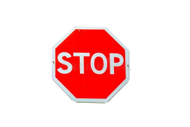 Zatrzymuje drogowego znaka odizolowywającego na białym tle obraz stock