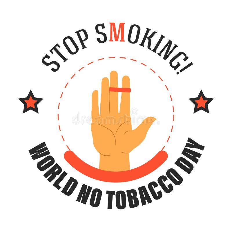 Zatrzymuje dymić świat żadny tabaczny dzień odizolowywająca ikona ilustracja wektor