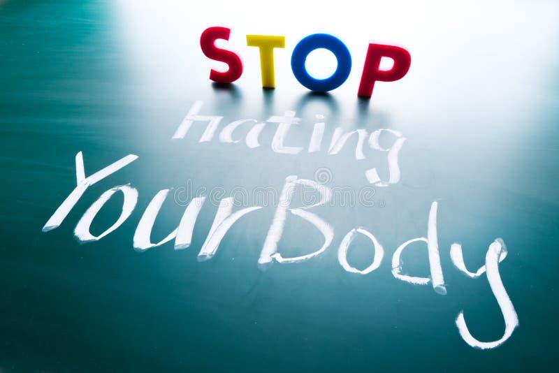 Zatrzymuje nienawidzić twój ciała pojęcie obraz stock