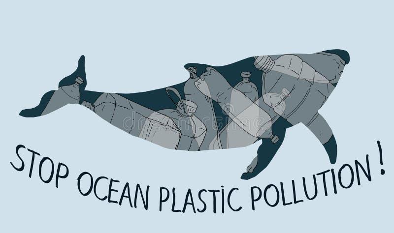 Zatrzymuje niszczyć nasz ocean ilustracja wektor
