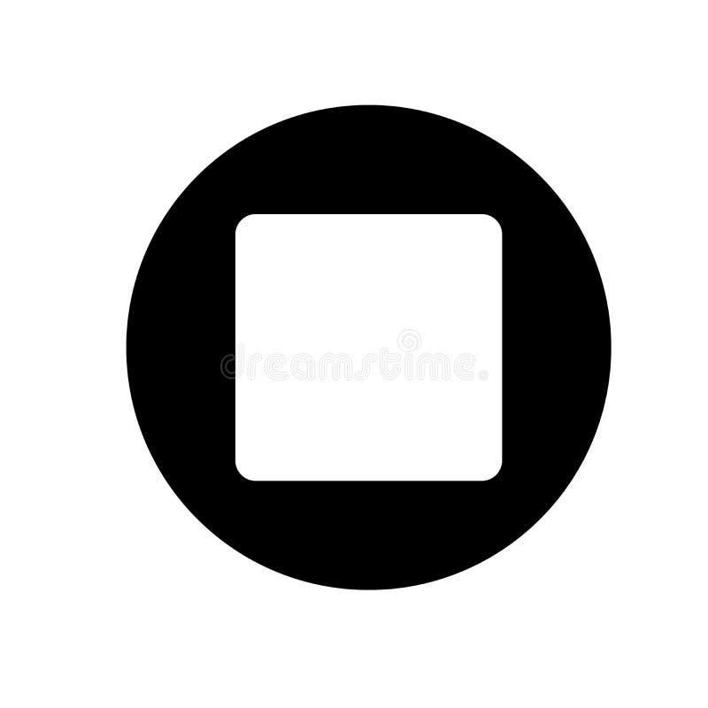 Zatrzymuje odtwarzacz medialny ikony ilustrację czarny i biały ikona również zwrócić corel ilustracji wektora obraz royalty free