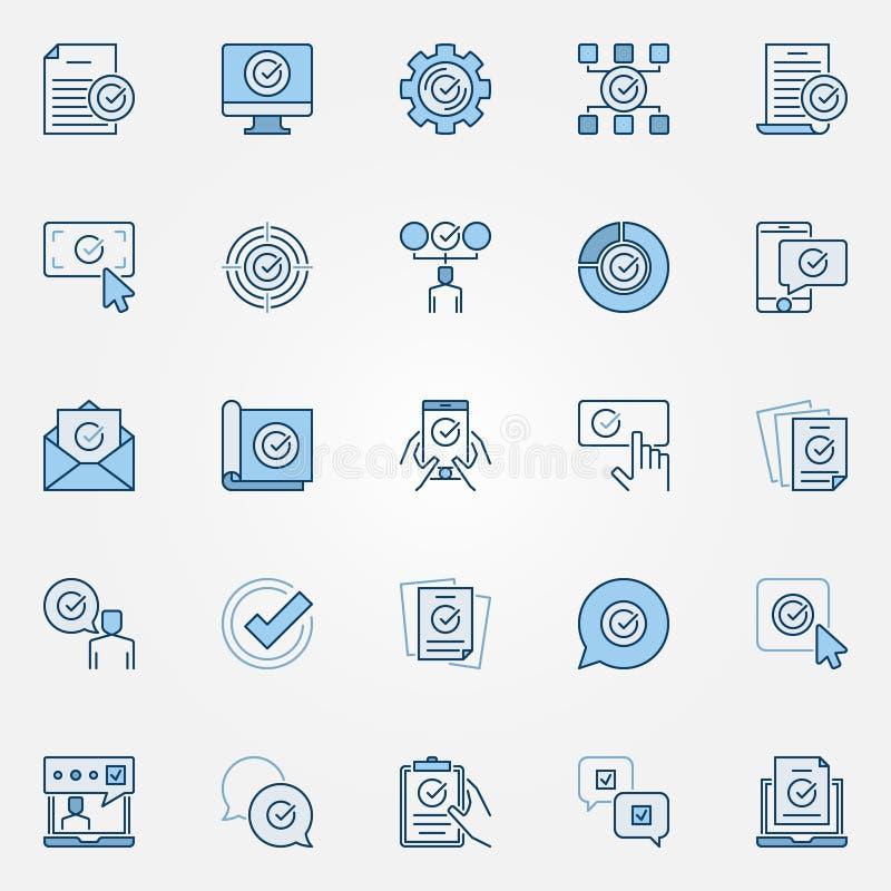 Zatwierdza błękitne ikony ustawiać Zatwierdzeni, weryfikować, akceptujący znaki, royalty ilustracja