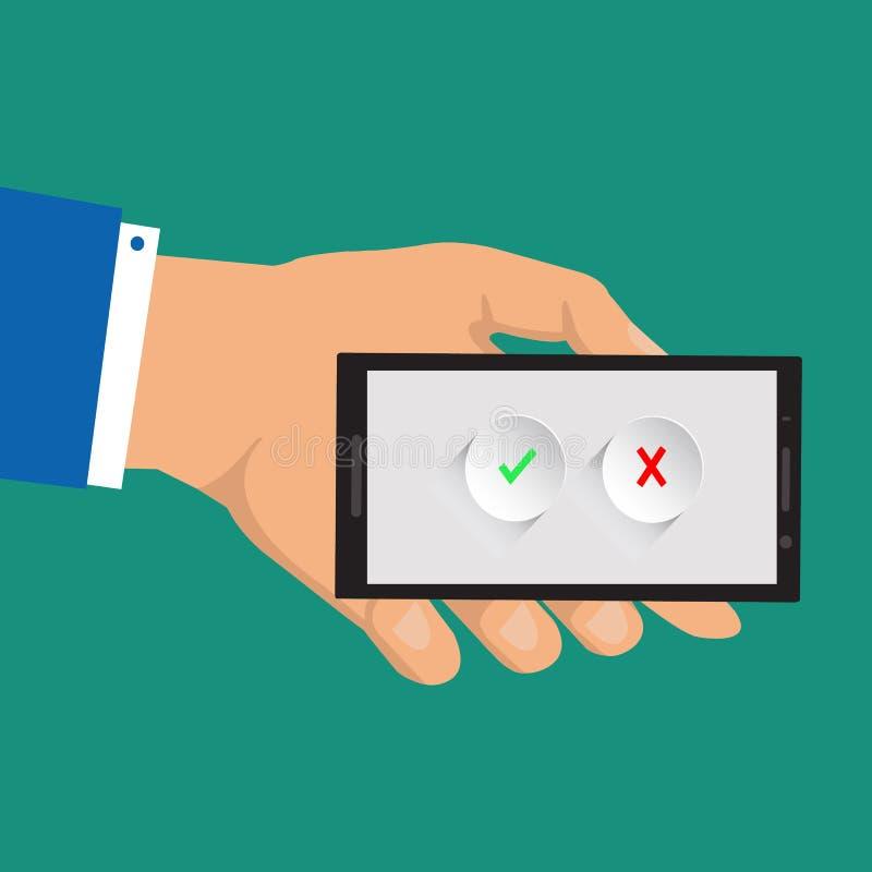 Zatwierdza ikony i Odrzuca Zielony checkmark i czerwony krzyż na smartphone ekranach bank tła ręka trzymająca zauważy smartphone  royalty ilustracja