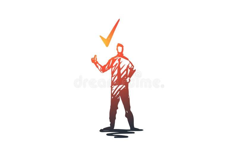 Zatwierdzenie, czek, poświadczający, cwelich, stemplowy pojęcie Ręka rysujący odosobniony wektor ilustracja wektor