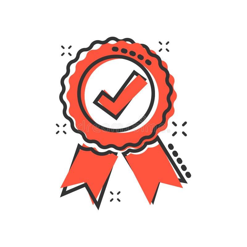 Zatwierdzona świadectwo medalu ikona w komiczka stylu Czek oceny znaczka kreskówki ilustracji wektorowy piktogram Akceptujący, na royalty ilustracja