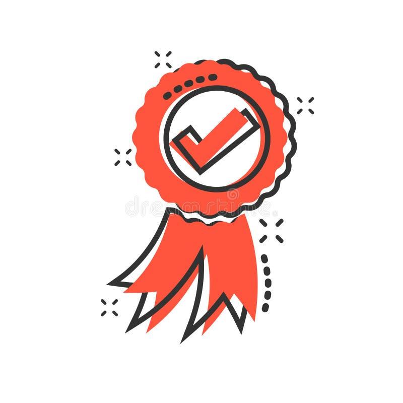Zatwierdzona świadectwo medalu ikona w komiczka stylu Czek oceny znaczka kreskówki ilustracji wektorowy piktogram Akceptujący, na ilustracji