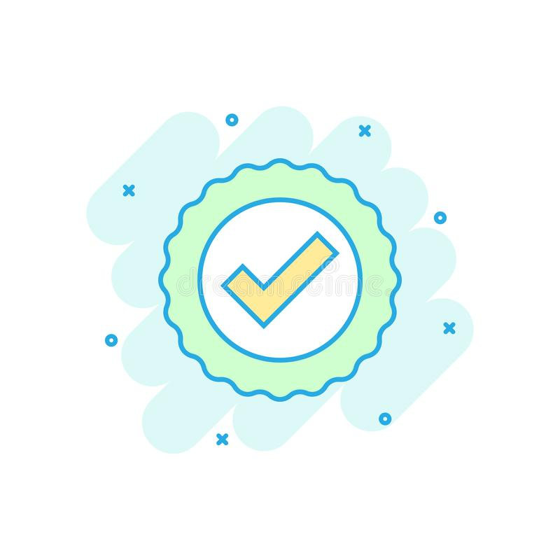 Zatwierdzona świadectwo medalu ikona w komiczka stylu Czek oceny znaczka kreskówki ilustracji wektorowy piktogram Akceptujący, na ilustracja wektor