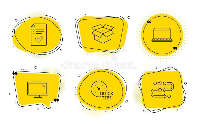 Zatwierdzona lista kontrolna, Otwiera pudełko i monitor ikony ustawiających Notatnik, Szybkie porady i metodologia znaki, wektor ilustracji