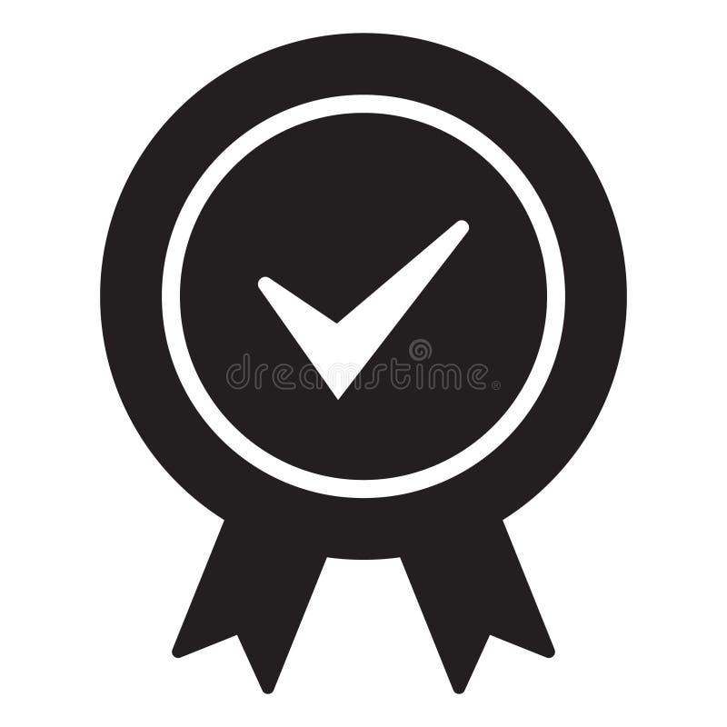 Zatwierdzona poświadczająca ikona Poświadczająca foki ikona Akceptujący akredytowanie symbol z checkmark royalty ilustracja