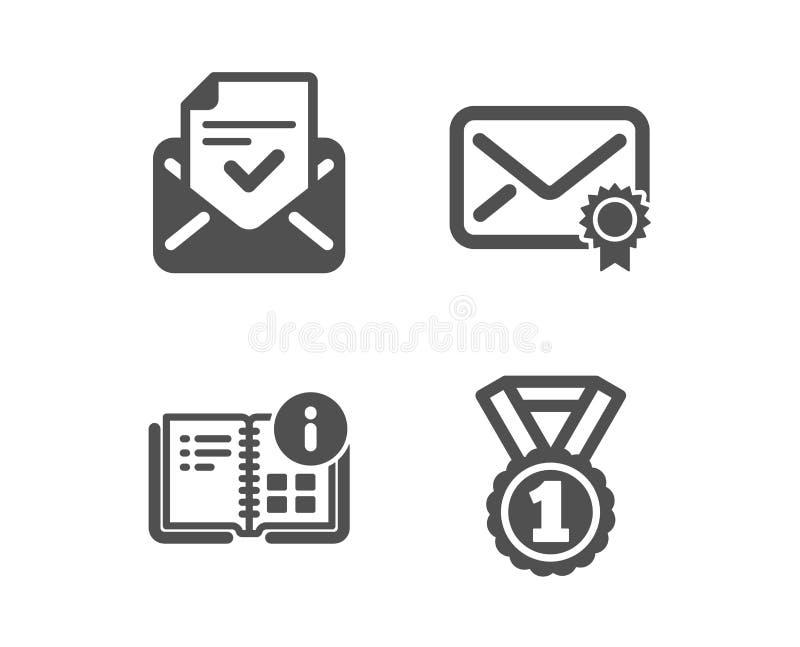 Zatwierdzona poczta, instrukcji informacja i Weryfikować poczt ikony, Najlepszy kategoria znak wektor royalty ilustracja