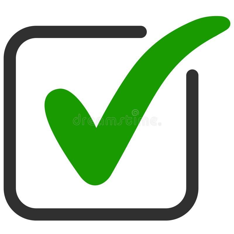 Zatwierdzony ikona kwadrat z zielonym cwelichem zdjęcie stock