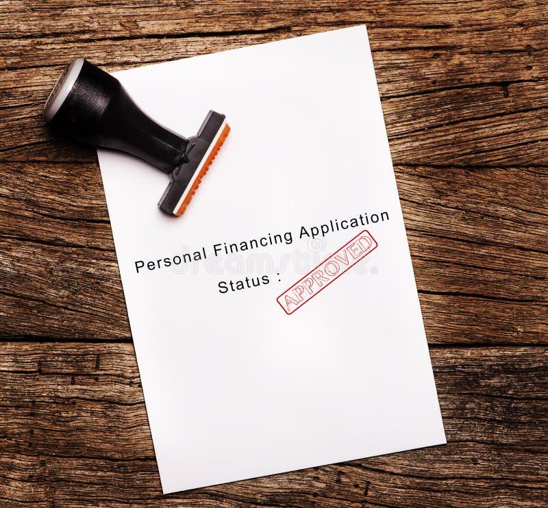 ZATWIERDZONY Osobisty Pożyczkowego zastosowania dokument obraz royalty free