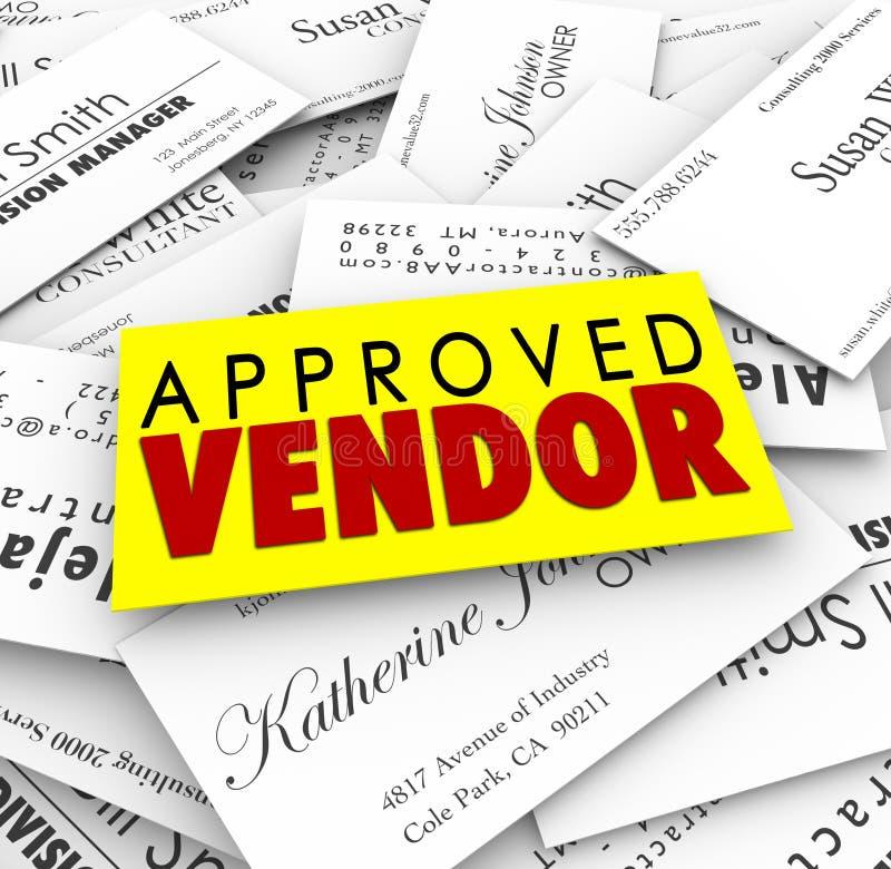 Zatwierdzonych sprzedawca wizytówek dostawcy Best Uprzywilejowana usługa C royalty ilustracja