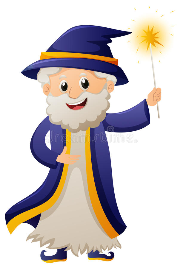 Zauberer in der blauen Robe vektor abbildung