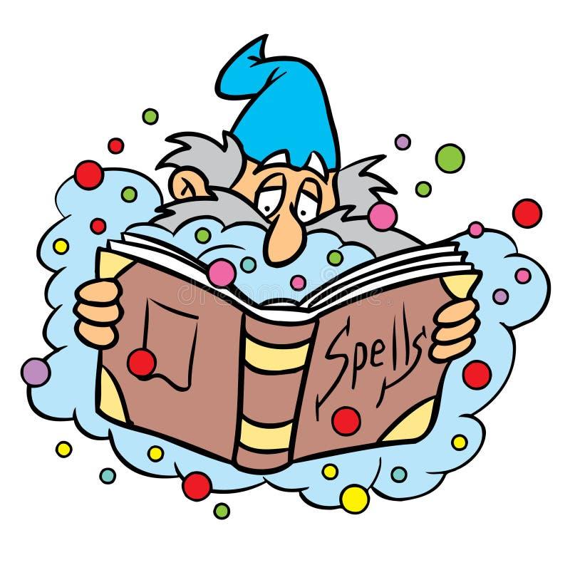 Zauberer mit Bannbuch lizenzfreie abbildung