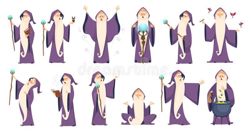 zauberer Mysteriöser männlicher Magier in den MERLIN-Vektorzeichentrickfilm-figuren des Robenrechtschreibungsalten knaben vektor abbildung