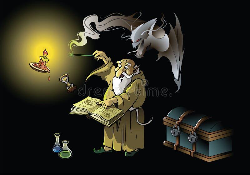 Zauberer ruft Dämon zusammen lizenzfreie abbildung