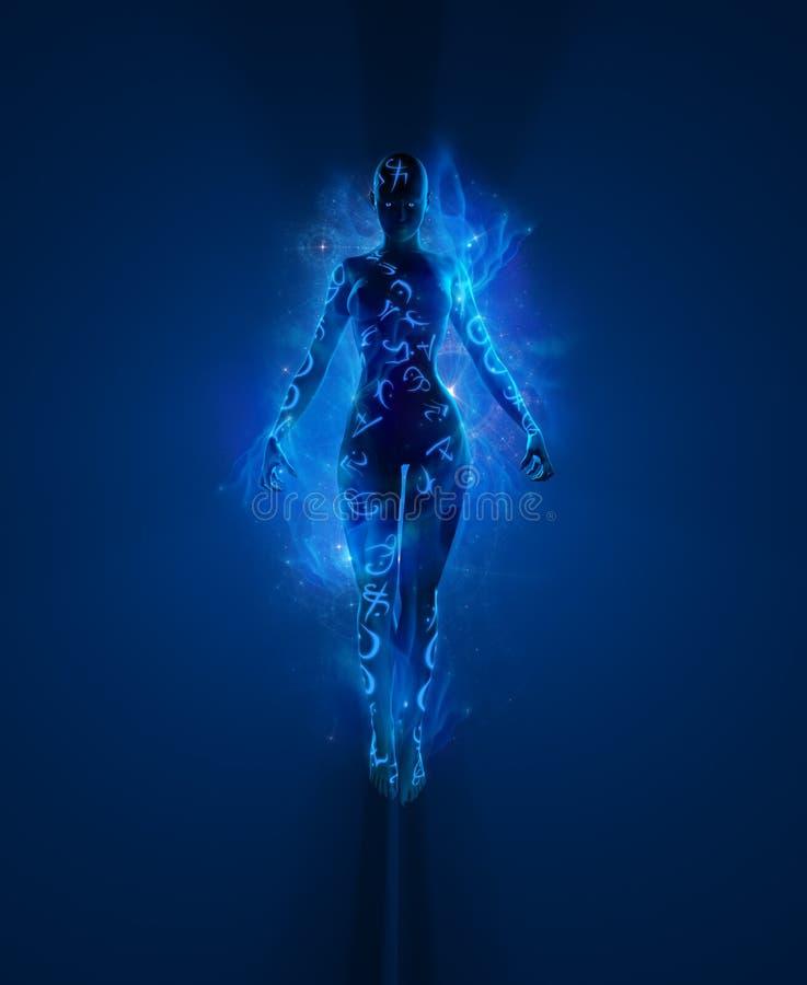 Zaubererfrau umgeben im Licht lizenzfreies stockbild