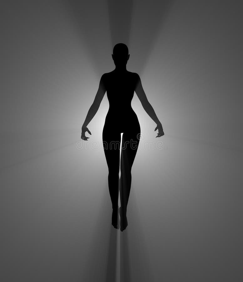 Zaubererfrau umgeben im Licht stockfotografie