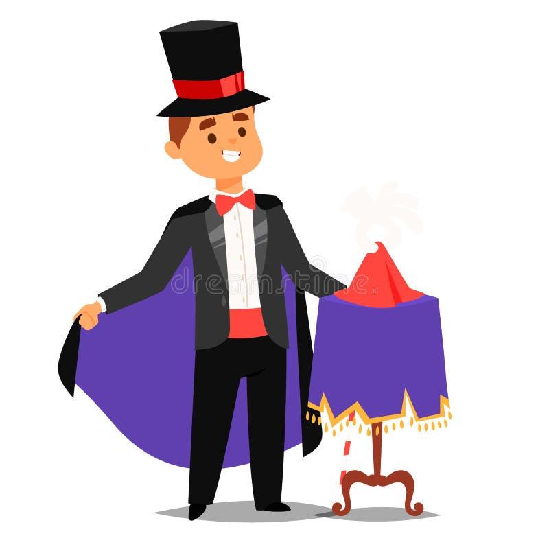 Zauberershow-Karikaturmann der Magiertaschenspielerzauberkünstlervektorcharaktertrickjongleurvektorillustration magischer lizenzfreie abbildung