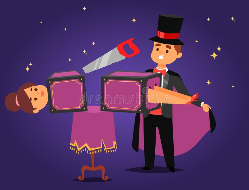 Zauberershow-Karikaturmann der Magiertaschenspielerzauberkünstlervektorcharaktertrickjongleurvektorillustration magischer vektor abbildung