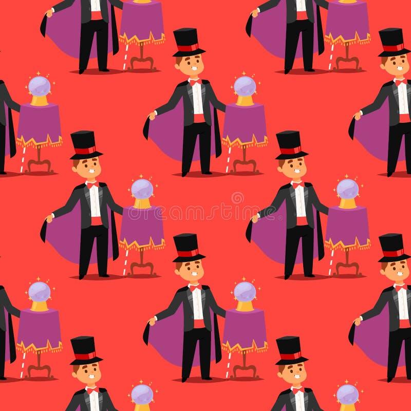 Zauberershow-Karikaturmann der Magiertaschenspielerzauberkünstlervektorcharaktertrickjongleurvektorillustration magischer stock abbildung