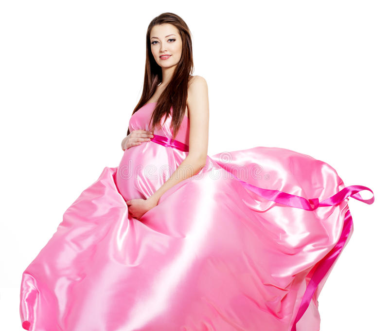 Zaubernationalstandard-stilvolle schwangere schöne Frau lizenzfreie stockbilder