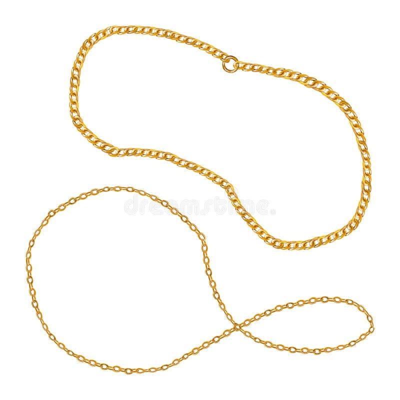Zaubersatzillustration der goldenen Ketten Aquarellhandgezogene Mode-Accessoire-Sammlung vektor abbildung