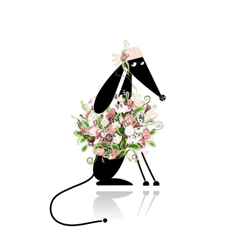 Zauberwelpe in der Blumenkleidung für Ihr Design stock abbildung