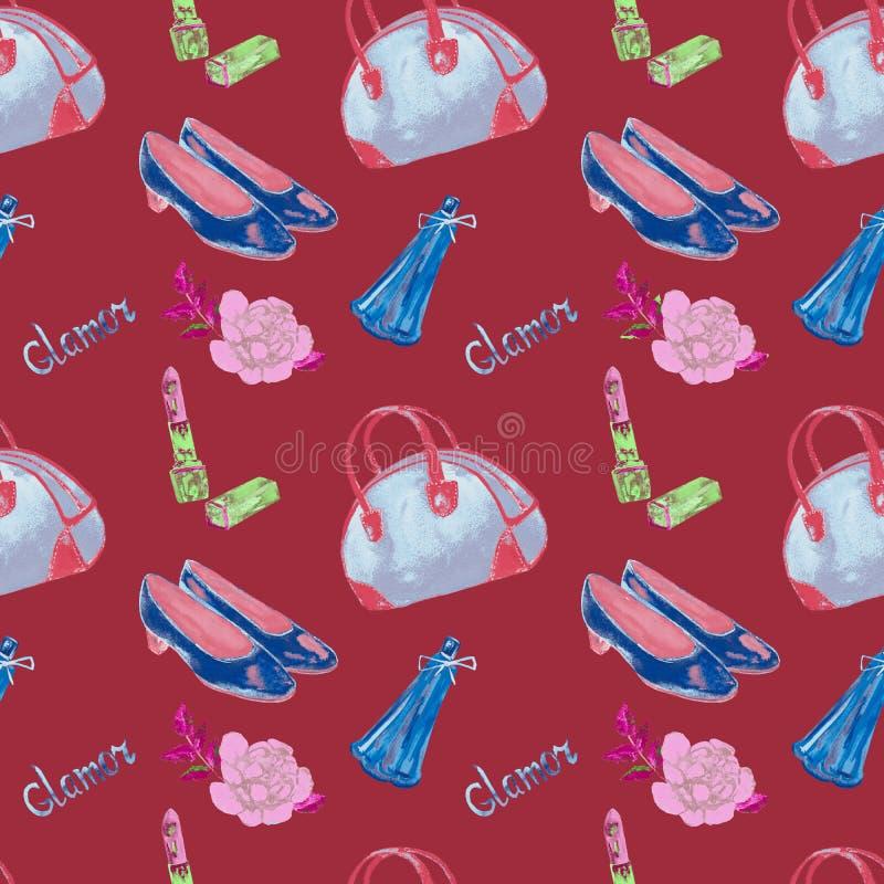 Zauberzubehör, blaue Bowlingspielart Tasche, Lippenstift, Parfüm, ledernes Gericht beschuht, auf dunkelrotem Hintergrund, nahtlos vektor abbildung