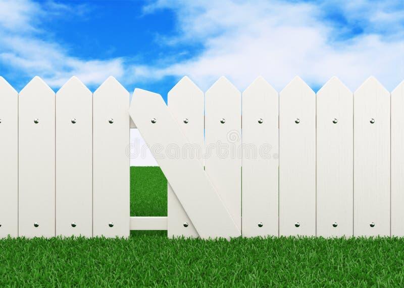 Zaun auf Rasen lizenzfreie abbildung
