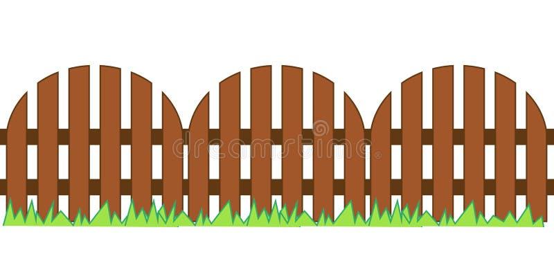 Zaun aus Holz, mit Gras strukturiert vektor abbildung