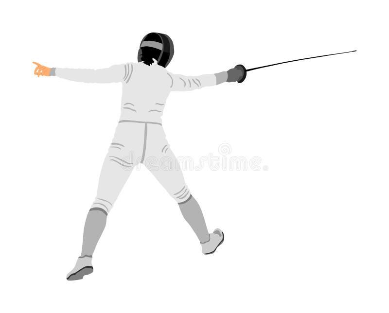 Zaun der Spielerporträtillustration Schwertkämpfen lizenzfreie abbildung