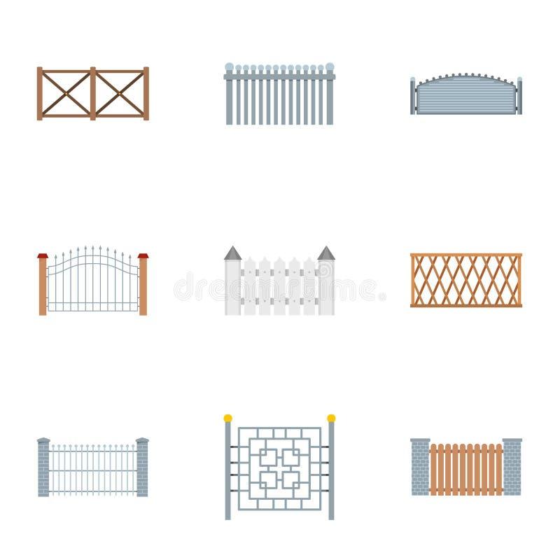 Zaun die Ikonen eingestellt, flache Art lizenzfreie abbildung
