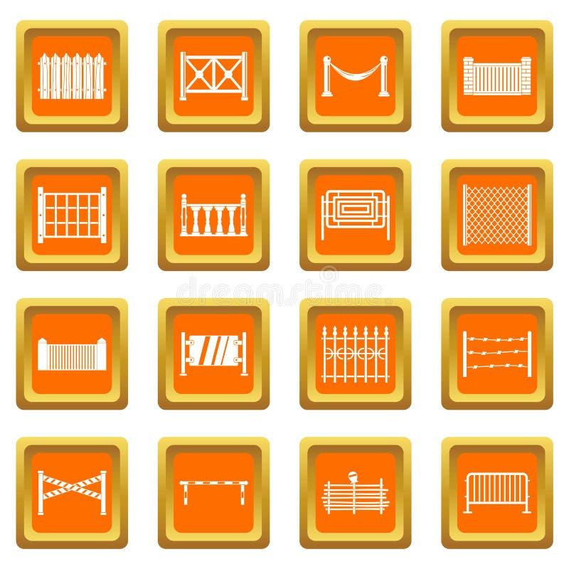 Zaun die Ikonen orange eingestellt vektor abbildung