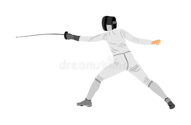 Zaun die Spielerportr?tillustration lokalisiert auf wei?em Hintergrund Fechtenwettbewerbsereignis Schwertk?mpfen Zaunkampf lizenzfreie abbildung
