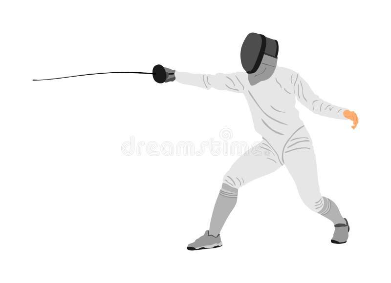 Zaun die Spielerportr?tillustration lokalisiert auf wei?em Hintergrund Fechtenwettbewerbsereignis Schwertk?mpfen Zaunkampf vektor abbildung