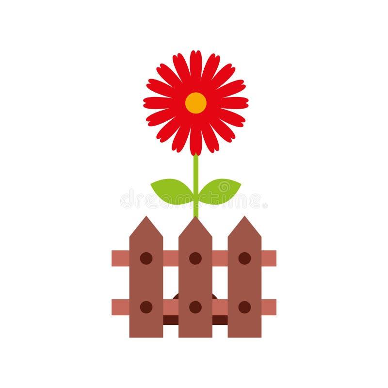 Zaun hölzern mit Blumen vektor abbildung