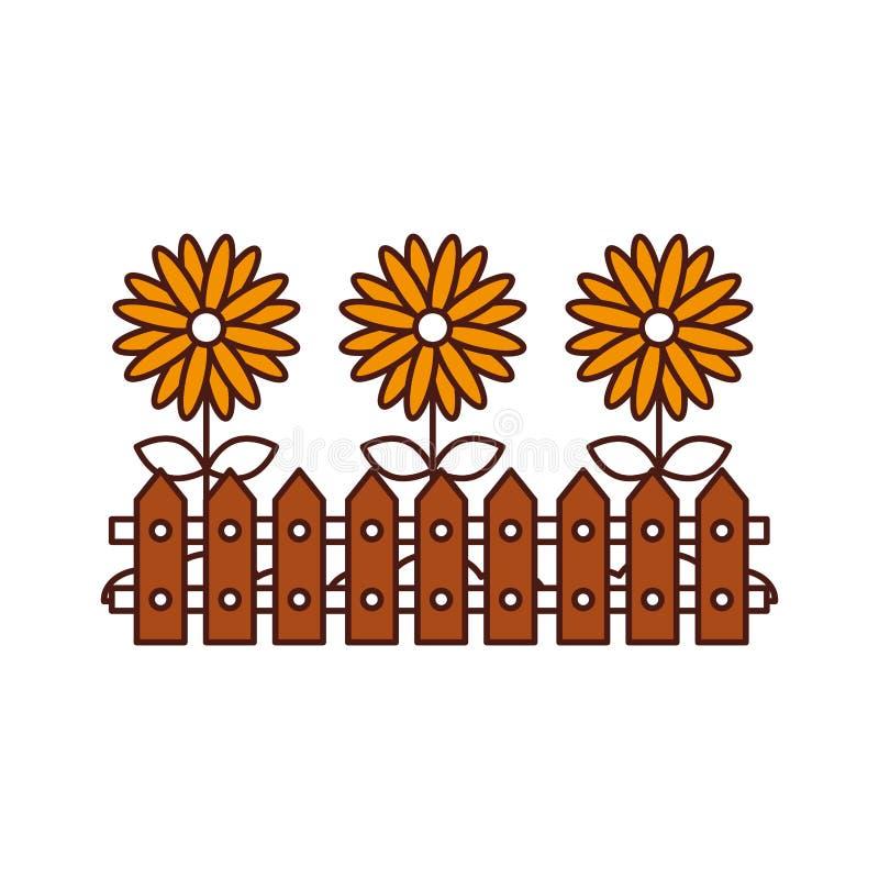 Zaun hölzern mit Blumen stock abbildung
