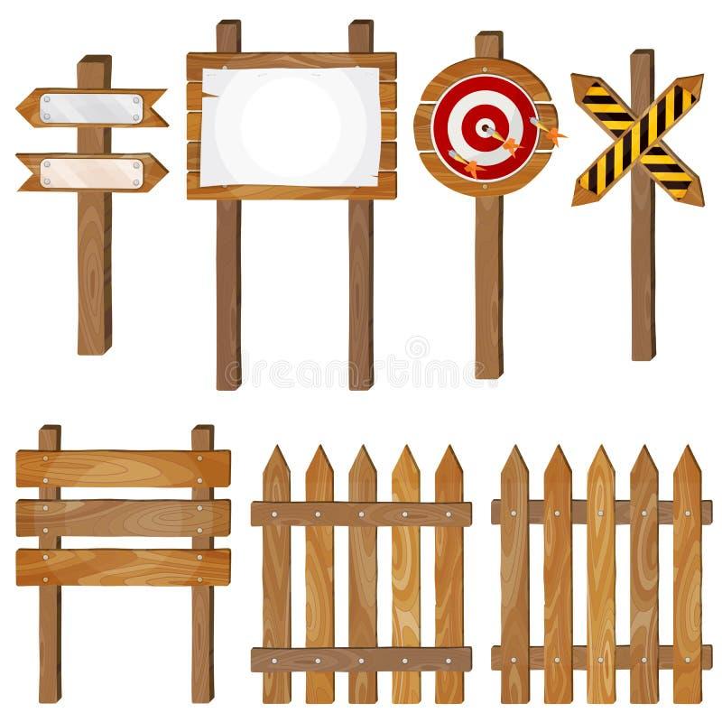 Zaun, hölzerne Schilder, Pfeilzeichen, Zielpfeil vektor abbildung