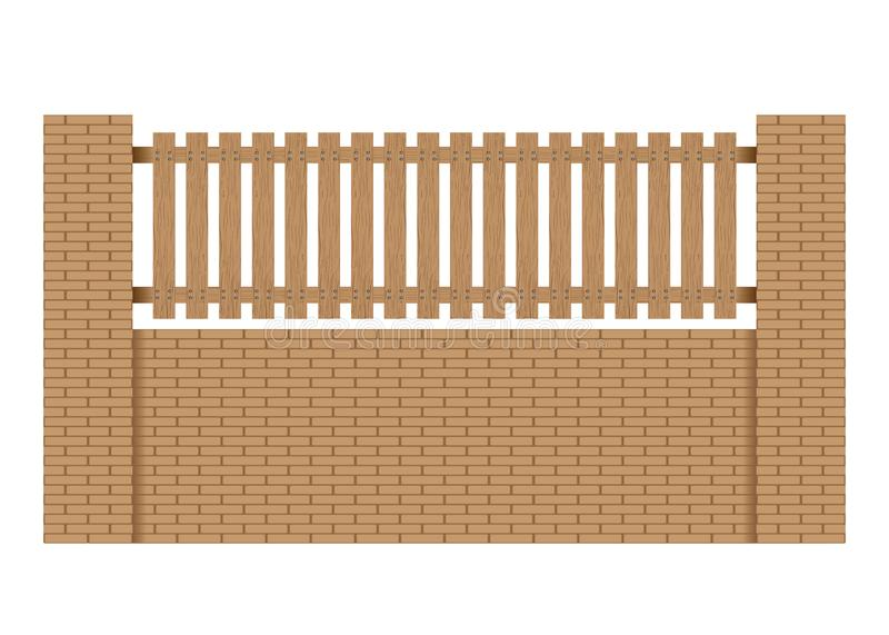 Zaun hergestellt vom hölzernen Steinziegelstein auf weißem Hintergrund lizenzfreie abbildung